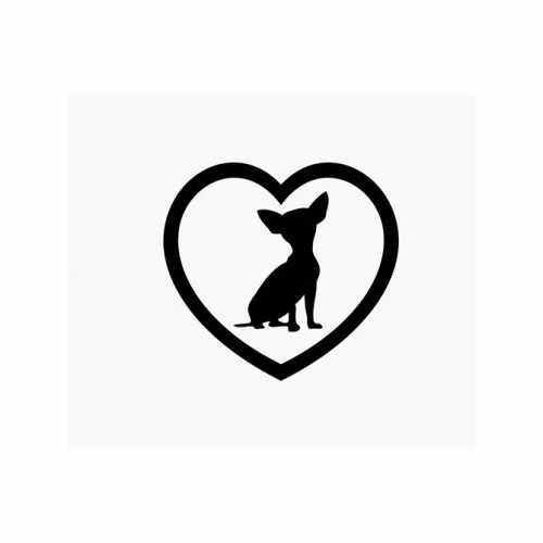 Chihuahua Heart Love  Vinyl Decal Sticker  Size option will determine the size from the longest side Industry standard high performance calendared vinyl film Cut from Oracle 651 2.5 mil Outdoor durability is 7 years Glossy surface finish