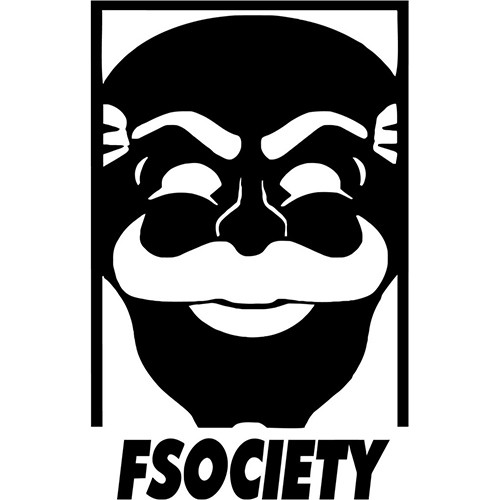 Mr Robot F Society Vinyl Decal <div> High glossy, premium 3 mill vinyl, with a life span of 5 – 7 years! </div>