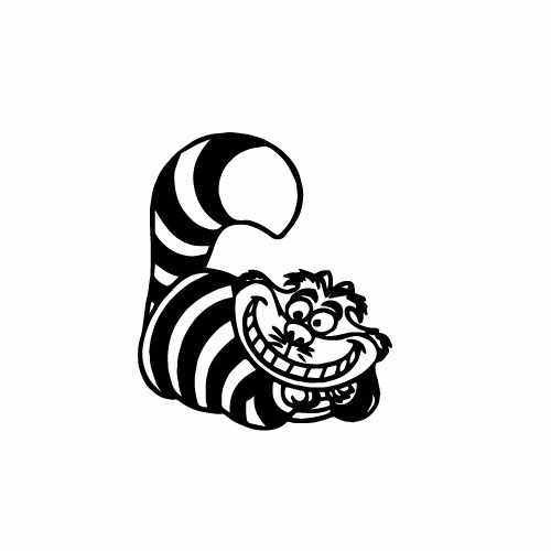 Cheshire Cat Vinyl Decal Sticker  Size option will determine the size from the longest side Industry standard high performance calendared vinyl film Cut from Oracle 651 2.5 mil Outdoor durability is 7 years Glossy surface finish