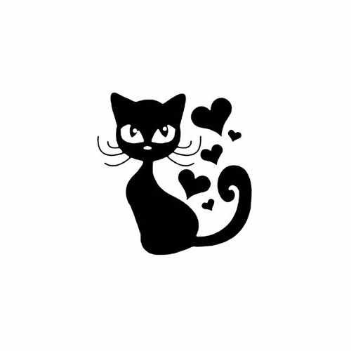 Cat With Hearts  Vinyl Decal Sticker  Size option will determine the size from the longest side Industry standard high performance calendared vinyl film Cut from Oracle 651 2.5 mil Outdoor durability is 7 years Glossy surface finish