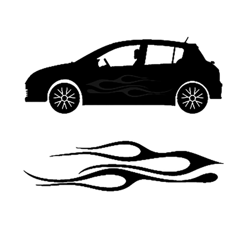 autocollant deco flamme auto 2 Vinyl Decal <div> High glossy, premium 3 mill vinyl, with a life span of 5 – 7 years! </div>