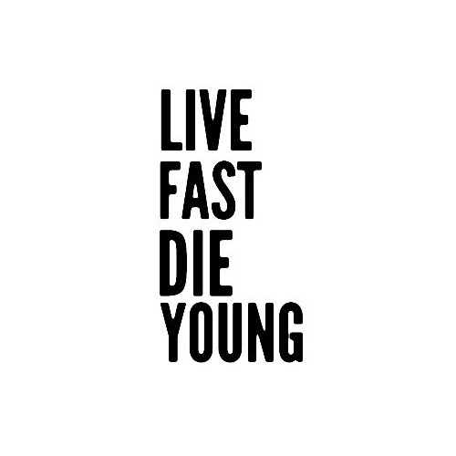 Saying live fast die young  decal High glossy, premium 3 mill vinyl, with a life span of 5 - 7 years!
