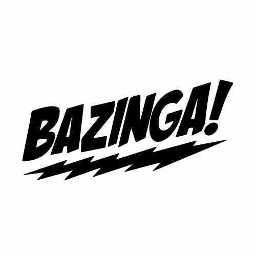 Bazinga Vinyl Decal Sticker  Size option will determine the size from the longest side Industry standard high performance calendared vinyl film Cut from Oracle 651 2.5 mil Outdoor durability is 7 years Glossy surface finish