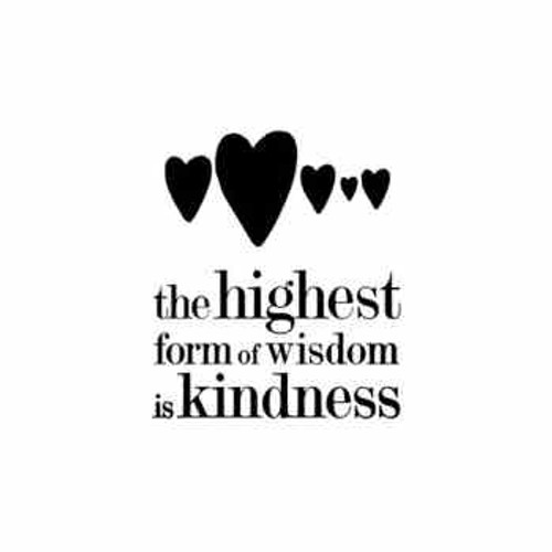 Saying the highest form of wisdom is kindness decal High glossy, premium 3 mill vinyl, with a life span of 5 - 7 years!