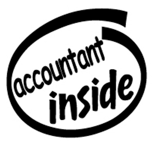Accountant Inside Vinyl Decal High glossy, premium 3 mill vinyl, with a life span of 5 - 7 years!
