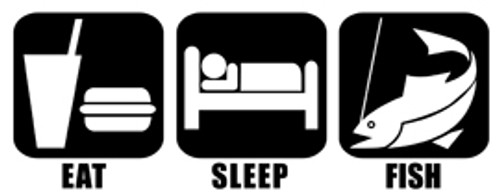 Eat Sleep Fish Vinyl Decal High glossy, premium 3 mill vinyl, with a life span of 5 - 7 years!
