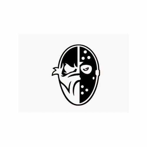 Bad Meets Evil Mask  Vinyl Decal Sticker  Size option will determine the size from the longest side Industry standard high performance calendared vinyl film Cut from Oracle 651 2.5 mil Outdoor durability is 7 years Glossy surface finish