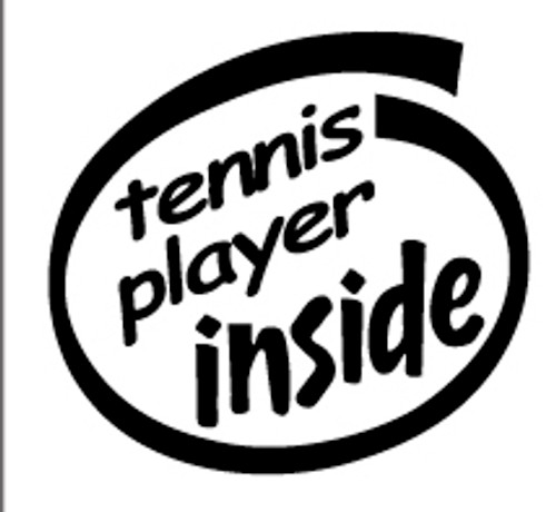 Tennis Player Inside Vinyl Decal High glossy, premium 3 mill vinyl, with a life span of 5 - 7 years!