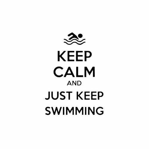 Keep Calm And Just Keep Swimming Vinyl Decal Sticker Size option will determine the size from the longest side Industry standard high performance calendared vinyl film Cut from Oracle 651 2.5 mil Outdoor durability is 7 years Glossy surface finish