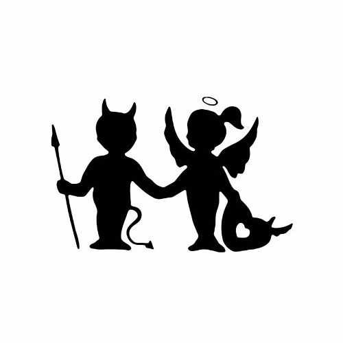 Angel Demon Friendship Love  Vinyl Decal Sticker  Size option will determine the size from the longest side Industry standard high performance calendared vinyl film Cut from Oracle 651 2.5 mil Outdoor durability is 7 years Glossy surface finish