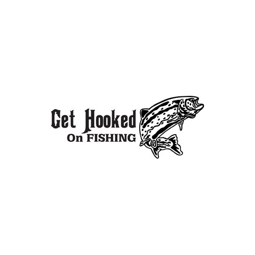 Get Hooked on Trout Fishing Vinyl Decal High glossy, premium 3 mill vinyl, with a life span of 5 - 7 years!