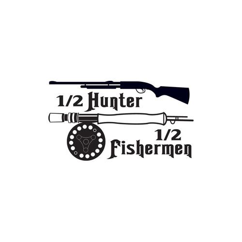 Half Hunter Half fisherman Vinyl Decal High glossy, premium 3 mill vinyl, with a life span of 5 - 7 years!