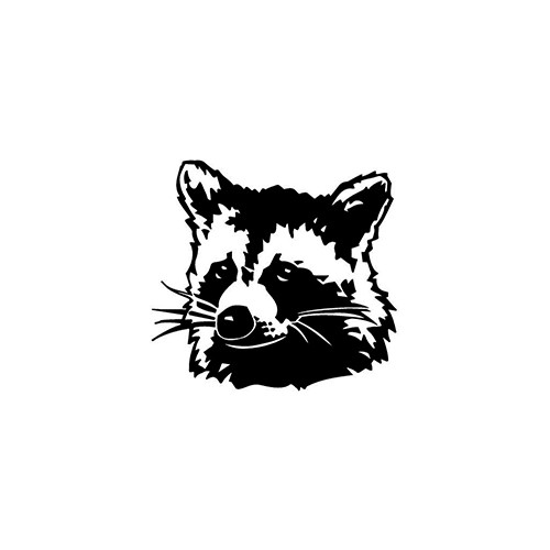 Raccoon Head   Vinyl Decal High glossy, premium 3 mill vinyl, with a life span of 5 - 7 years!