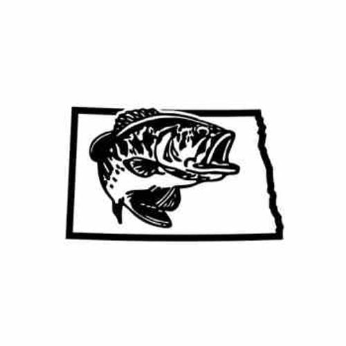 North Dakota Bass Fishing   Vinyl Decal High glossy, premium 3 mill vinyl, with a life span of 5 - 7 years!