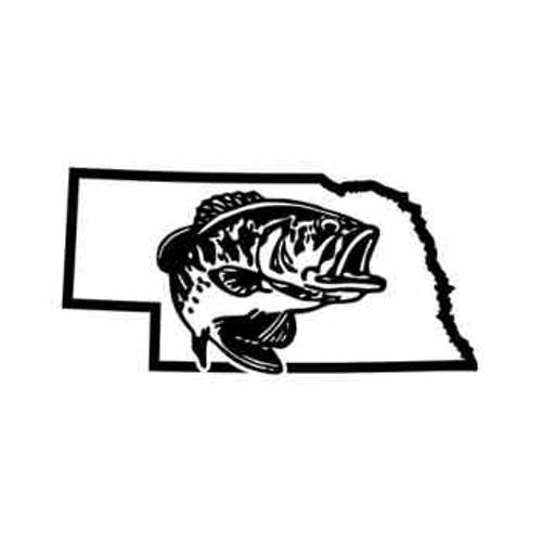 Nebraska Bass Fishing   Vinyl Decal High glossy, premium 3 mill vinyl, with a life span of 5 - 7 years!