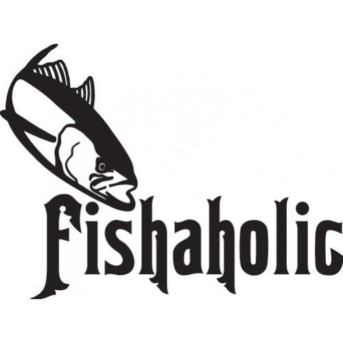 fishaholic ver5  Vinyl Decal High glossy, premium 3 mill vinyl, with a life span of 5 - 7 years!