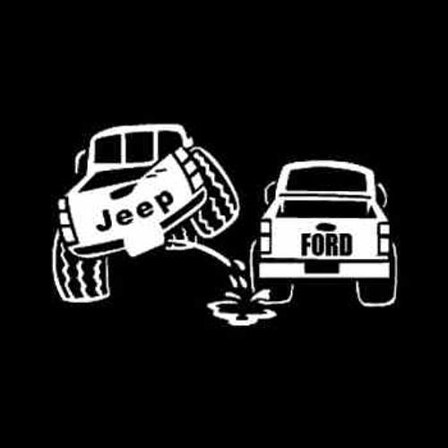Jeep Peeing on Ford Truck Vinyl Decal Sticker High glossy, premium 3 mill vinyl, with a life span of 5 - 7 years!