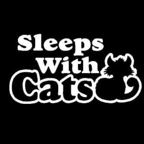 Sleeps With Cats  Decal High glossy, premium 3 mill vinyl, with a life span of 5 - 7 years!