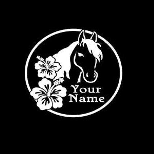 Horse with Hibiscus flower and name  Decal High glossy, premium 3 mill vinyl, with a life span of 5 - 7 years!