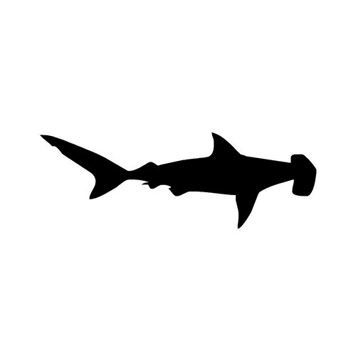Hammerhead Shark Silhouette ver2   Vinyl Decal High glossy, premium 3 mill vinyl, with a life span of 5 - 7 years!