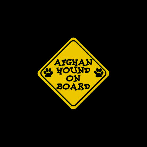 Afghan Hound on Board     Vinyl Decal High glossy, premium 3 mill vinyl, with a life span of 5 - 7 years!