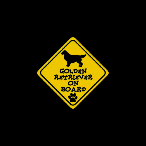 Golden Retriever on Board     Vinyl Decal High glossy, premium 3 mill vinyl, with a life span of 5 - 7 years!