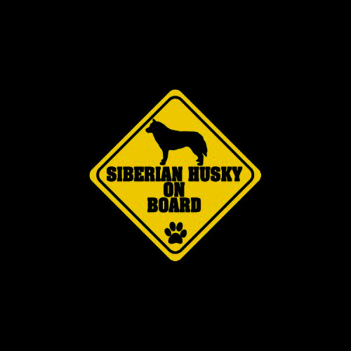 Siberian Husky on Board     Vinyl Decal High glossy, premium 3 mill vinyl, with a life span of 5 - 7 years!