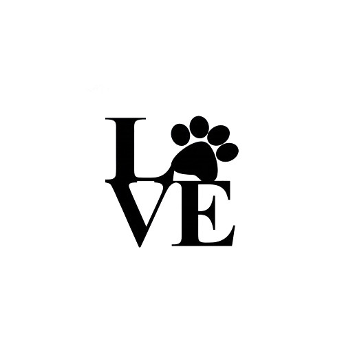 Love  Paw  Decal High glossy, premium 3 mill vinyl, with a life span of 5 - 7 years!