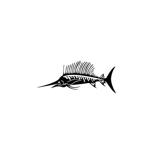 Sailfish Skeleton Decal High glossy, premium 3 mill vinyl, with a life span of 5 - 7 years!