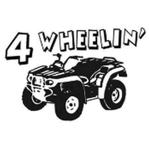 Our 4 Wheelin ATV Decal Sticker comes in High glossy, premium 3 mill vinyl, with a life span of 5 - 7 years. Color Options Available. <strong> </strong> &nbsp;
