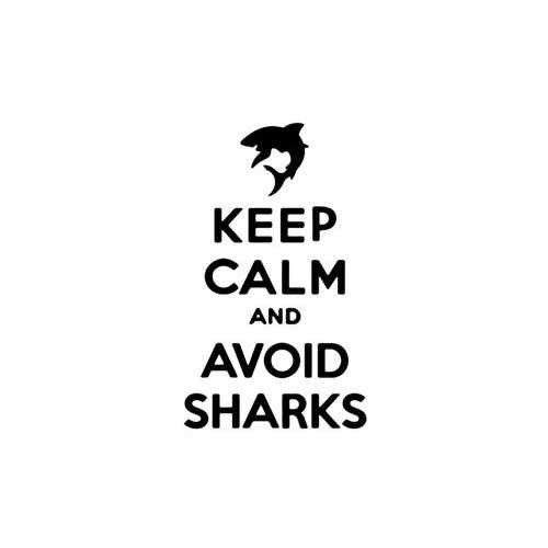 Keep Calm And Avoid Sharks Vinyl Decal Sticker Size option will determine the size from the longest side Industry standard high performance calendared vinyl film Cut from Oracle 651 2.5 mil Outdoor durability is 7 years Glossy surface finish