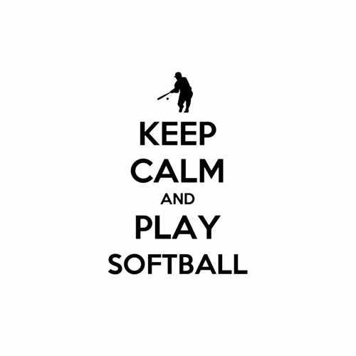 Keep Calm And Play Softball  Vinyl Decal Sticker  Size option will determine the size from the longest side Industry standard high performance calendared vinyl film Cut from Oracle 651 2.5 mil Outdoor durability is 7 years Glossy surface finish