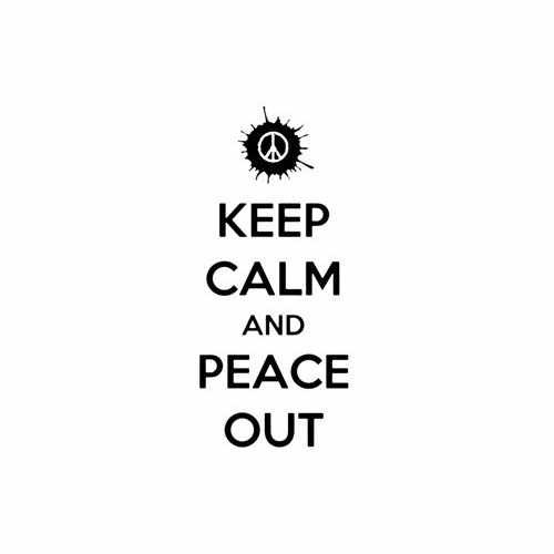 Keep Calm And Peace Out  Vinyl Decal Sticker  Size option will determine the size from the longest side Industry standard high performance calendared vinyl film Cut from Oracle 651 2.5 mil Outdoor durability is 7 years Glossy surface finish