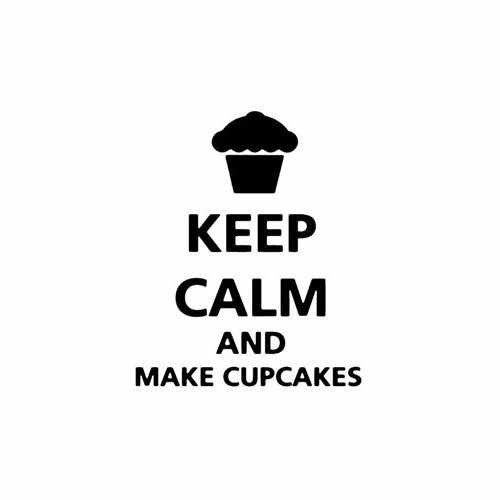 Keep Calm And Make Cupcakes  Vinyl Decal Sticker  Size option will determine the size from the longest side Industry standard high performance calendared vinyl film Cut from Oracle 651 2.5 mil Outdoor durability is 7 years Glossy surface finish