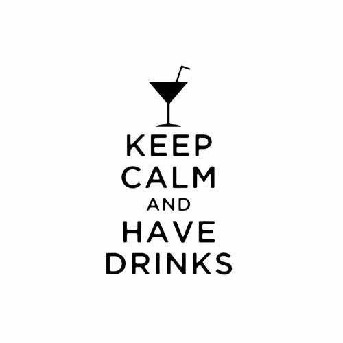 Keep Calm And Have Drinks  Vinyl Decal Sticker  Size option will determine the size from the longest side Industry standard high performance calendared vinyl film Cut from Oracle 651 2.5 mil Outdoor durability is 7 years Glossy surface finish