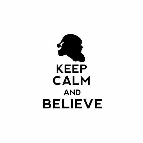 Keep Calm And Believe In Santa  Vinyl Decal Sticker  Size option will determine the size from the longest side Industry standard high performance calendared vinyl film Cut from Oracle 651 2.5 mil Outdoor durability is 7 years Glossy surface finish