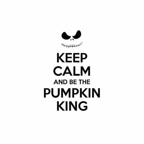 Keep Calm And Be The Pumpkin King  Vinyl Decal Sticker  Size option will determine the size from the longest side Industry standard high performance calendared vinyl film Cut from Oracle 651 2.5 mil Outdoor durability is 7 years Glossy surface finish