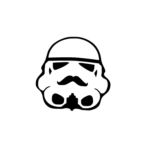 Stormtrooper With Moustache Vinyl Decal Sticker  Size option will determine the size from the longest side Industry standard high performance calendared vinyl film Cut from Oracle 651 2.5 mil Outdoor durability is 7 years Glossy surface finish