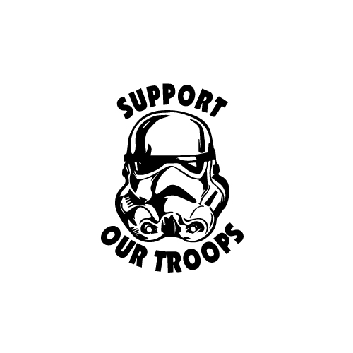 Stormtrooper Support Our Troops Vinyl Decal Sticker  Size option will determine the size from the longest side Industry standard high performance calendared vinyl film Cut from Oracle 651 2.5 mil Outdoor durability is 7 years Glossy surface finish