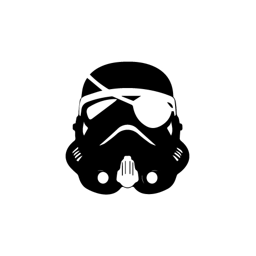 Stormtrooper Pirate Vinyl Decal Sticker  Size option will determine the size from the longest side Industry standard high performance calendared vinyl film Cut from Oracle 651 2.5 mil Outdoor durability is 7 years Glossy surface finish