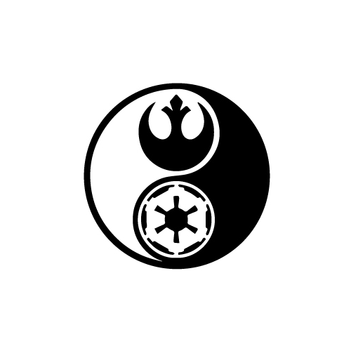 Star Wars Ying Yang Vinyl Decal Sticker  Size option will determine the size from the longest side Industry standard high performance calendared vinyl film Cut from Oracle 651 2.5 mil Outdoor durability is 7 years Glossy surface finish