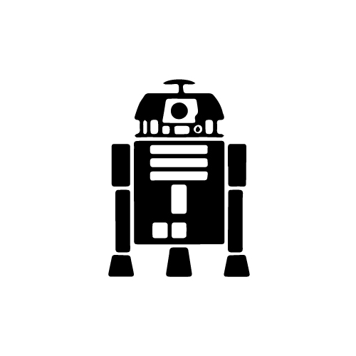 R2 D2 (Minimal) Vinyl Decal Sticker  Size option will determine the size from the longest side Industry standard high performance calendared vinyl film Cut from Oracle 651 2.5 mil Outdoor durability is 7 years Glossy surface finish