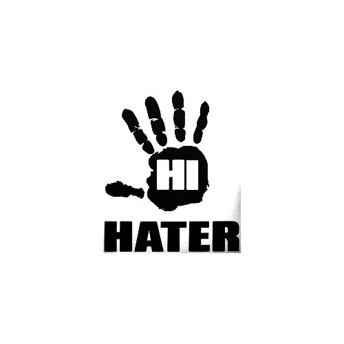 Hater Hi Vinyl Decal Sticker  Size option will determine the size from the longest side Industry standard high performance calendared vinyl film Cut from Oracle 651 2.5 mil Outdoor durability is 7 years Glossy surface finish