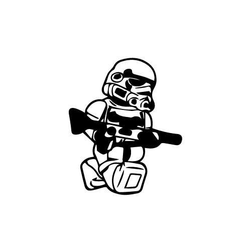Lego Stormtrooper Vinyl Decal Sticker  Size option will determine the size from the longest side Industry standard high performance calendared vinyl film Cut from Oracle 651 2.5 mil Outdoor durability is 7 years Glossy surface finish