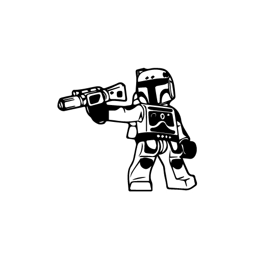 Lego Boba Fett Vinyl Decal Sticker  Size option will determine the size from the longest side Industry standard high performance calendared vinyl film Cut from Oracle 651 2.5 mil Outdoor durability is 7 years Glossy surface finish