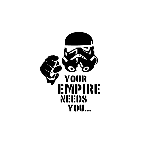 Empire Needs You Vinyl Decal Sticker  Size option will determine the size from the longest side Industry standard high performance calendared vinyl film Cut from Oracle 651 2.5 mil Outdoor durability is 7 years Glossy surface finish