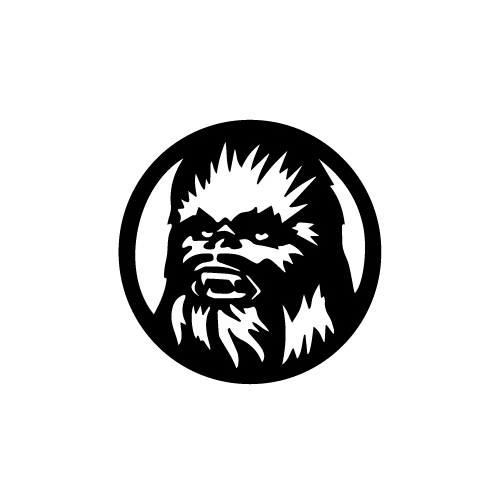 Chewbacca Vinyl Decal Sticker  Size option will determine the size from the longest side Industry standard high performance calendared vinyl film Cut from Oracle 651 2.5 mil Outdoor durability is 7 years Glossy surface finish