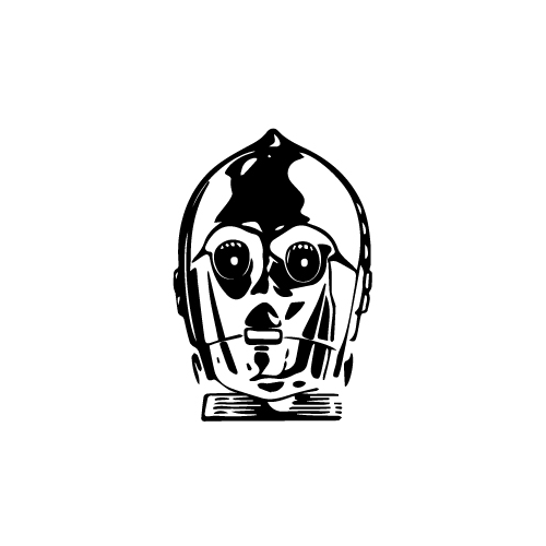 C3Po Vinyl Decal Sticker  Size option will determine the size from the longest side Industry standard high performance calendared vinyl film Cut from Oracle 651 2.5 mil Outdoor durability is 7 years Glossy surface finish