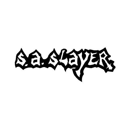 Our SA Slayer Band Logo Decal is offered in many color and size options. <strong>PREMIUM QUALITY</strong> <ul>  <li>High Performance Vinyl</li>  <li>3 mil</li>  <li>5 - 7 Outdoor Lifespan</li>  <li>High Glossy</li>  <li>Made in the USA</li> </ul> &nbsp;