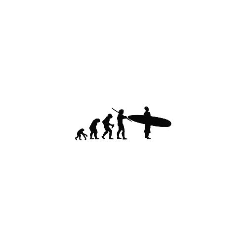 Surfer Evolution Vinyl Decal Sticker  Size option will determine the size from the longest side Industry standard high performance calendared vinyl film Cut from Oracle 651 2.5 mil Outdoor durability is 7 years Glossy surface finish